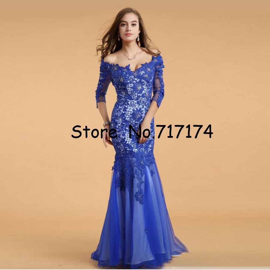 Lace V-neck Blue Half Sleeves Backless Long   Prom     Dresses   3/4 Sleeves Lace Mermaid Long Evening   Dress   Sexy