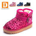Winter Bing Girls Boots 2017 Good Quality New Fashion Sequined Cloth Plush Snow Boots Ankle Flat Children Warm Shoes Ugs Sneaker