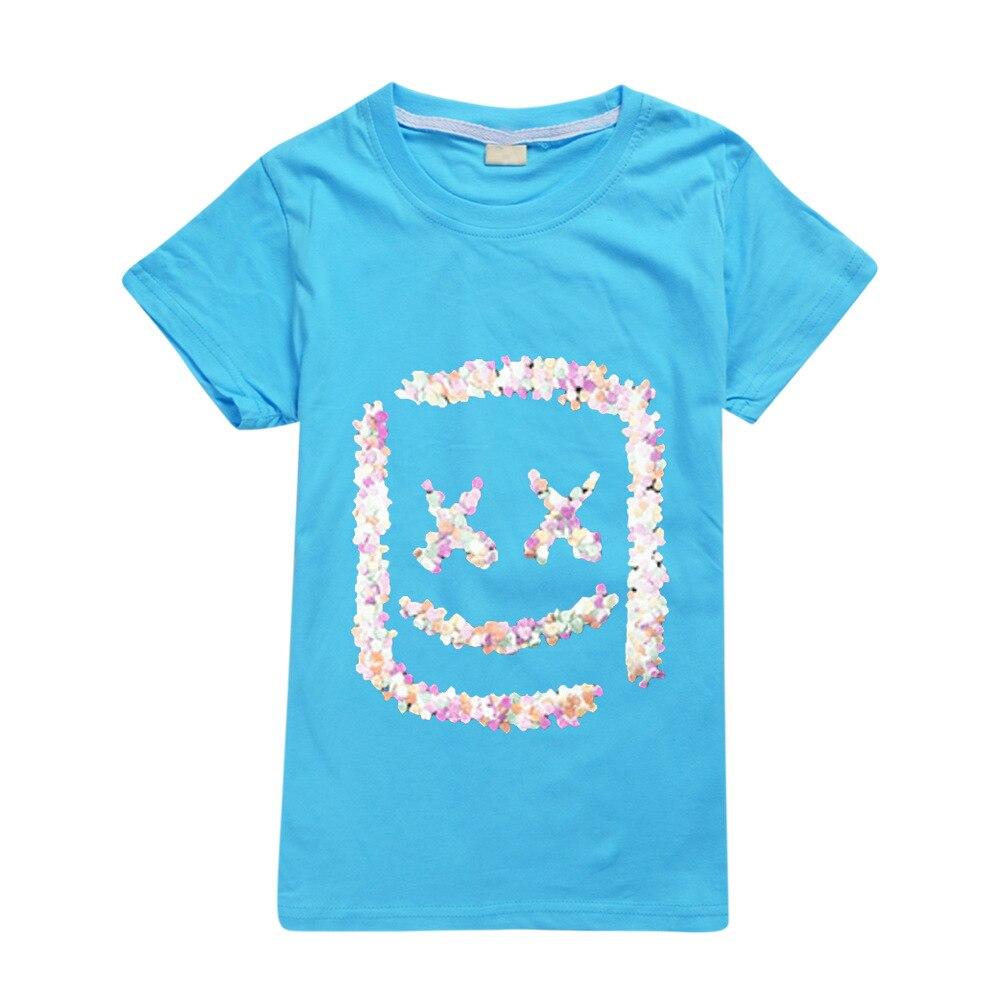Boys Girls Marshmello Kids Casual Short Sleeve T-shirt Tops Summer Costumes