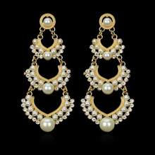 boho Fashionable and popular hyperbole big pearl earrings for women(China)