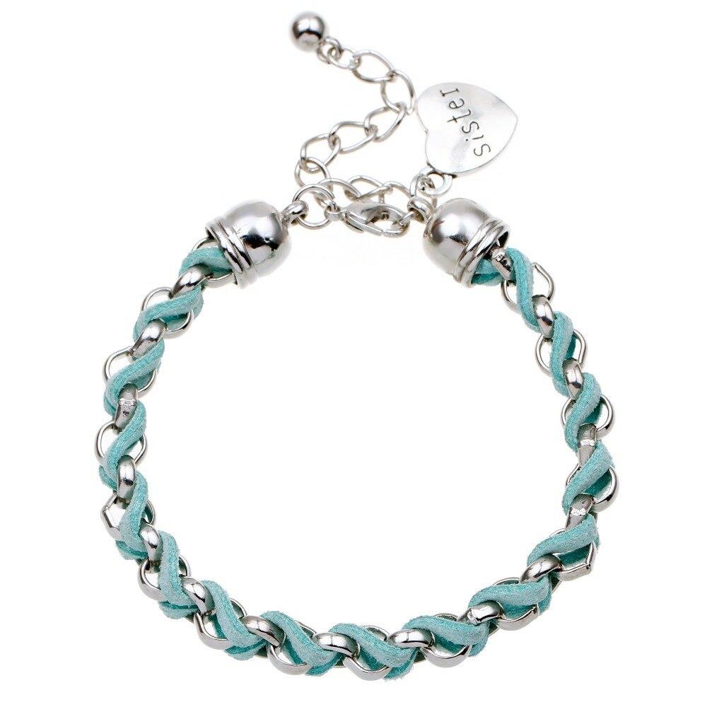 New Sister Charm Bracelet In Silver Imitation Leather Customize Friendship  Gift Heart Bracelet For Woven Bracelet&