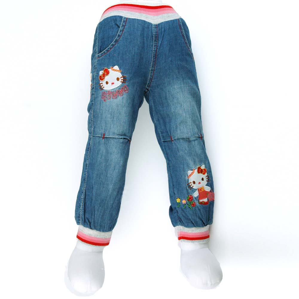7 24m cat flowers embroidered denim trousers rhinestone baby girls jeans infant spring summer carotte mh2939