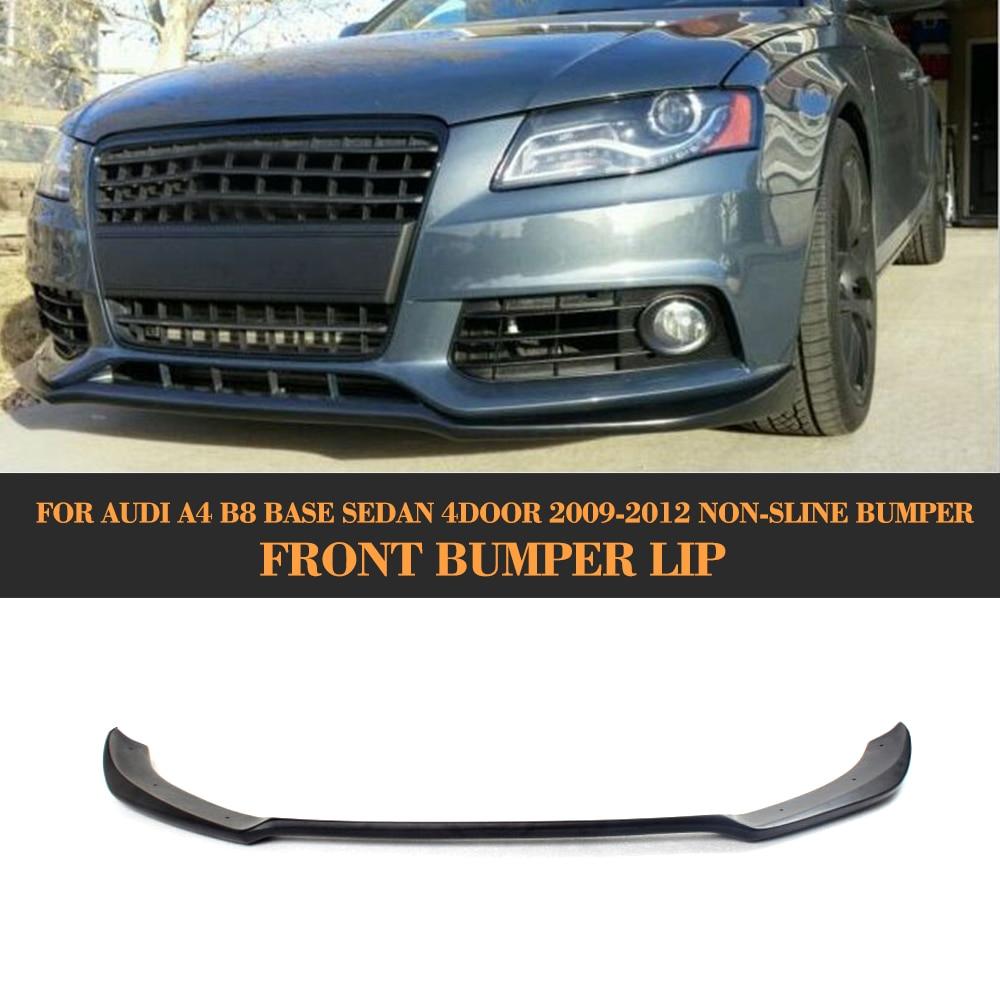 Car Front Bumper Lip Spoiler Apron For Audi A4 B8 Standard Bumper 2009 - 2012 Non-Sline Black FRP