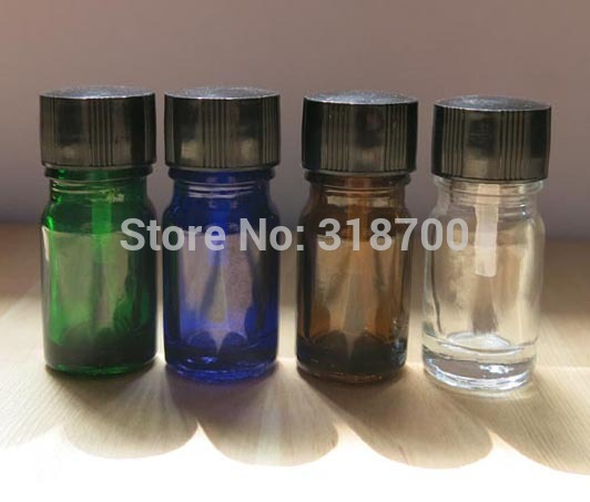 200pcs/lot 5ml Empty Nail polish Bottle,5cc Blue,green,clear,amber glass bottle with lined brush cap