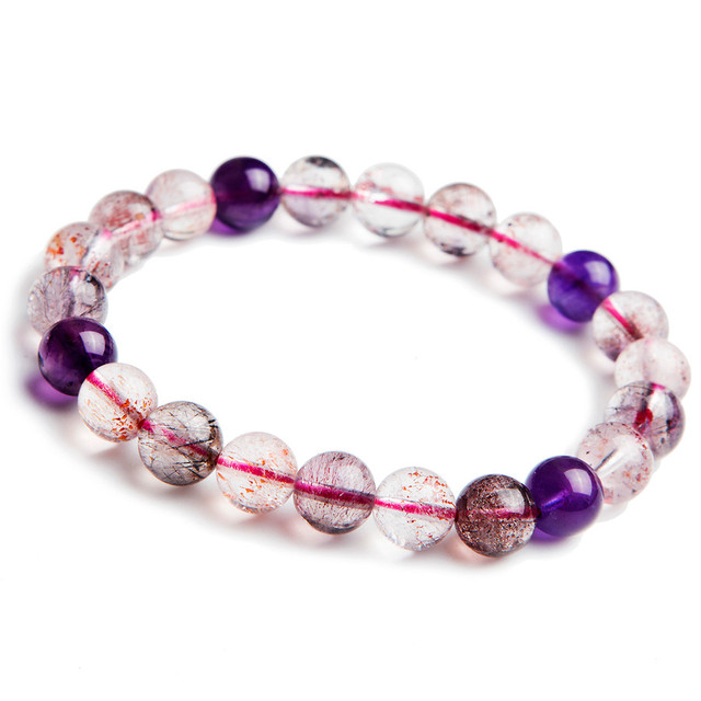 9mm Genuine Natural Mix Color Super Seven Melody Stone Stretch Bracelet For Women Clear Round Bead Crystal Charm Bracelet