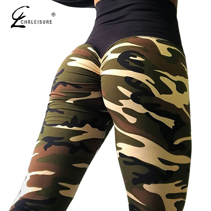 CHRLEISURE Women Camouflage Printed   Leggings   High Waist Sportswear Leggins Femme Elasticity Wrinkle   Leggings   4Color