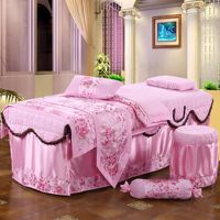Four sets European cosmetology bedspreads Jacquard beauty salons bedspreads customized Spa Bed Bedding Set #383
