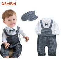 free shipping Baby sets New Baby boys Romper Gentleman modelling infant long sleeve climb clothes kids body suit
