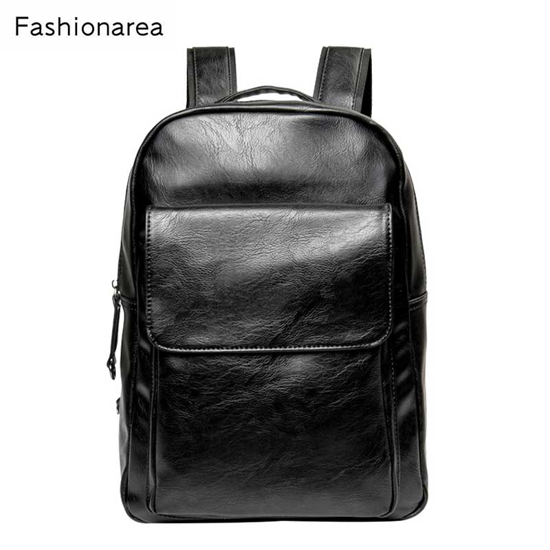 Fashion Men's Backpack High Quality PU Leather Practical Bag Casual Male 14 inches Laptop Backpack Black School Travel Backpack