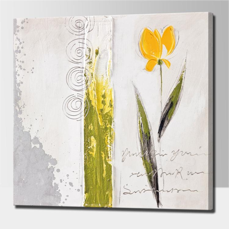 Hand Painted Acrylic Abstract Oil Painting Yellow Flower Wall ...