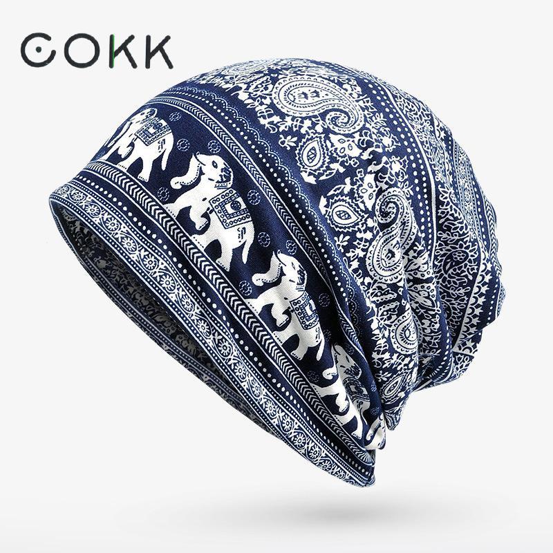 COKK Turban Hat Female Winter Beanie Stocking Hats for Women Men Elephant Pattern Skullies Beanies Bonnet Cap Male Plus Velet