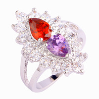 New Fashion Baroque Style Rings Garnet & Amethyst 925 Silver Ring Size 7 For Women Gift Jewelry  Wholesale Free Shipping