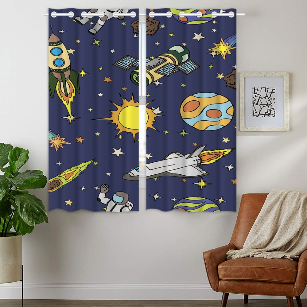 Blackout Curtains 2 Panels Grommet Curtains for Bedroom Spaceship Sun Rocket Galaxy Boy in Curtains from Home Garden