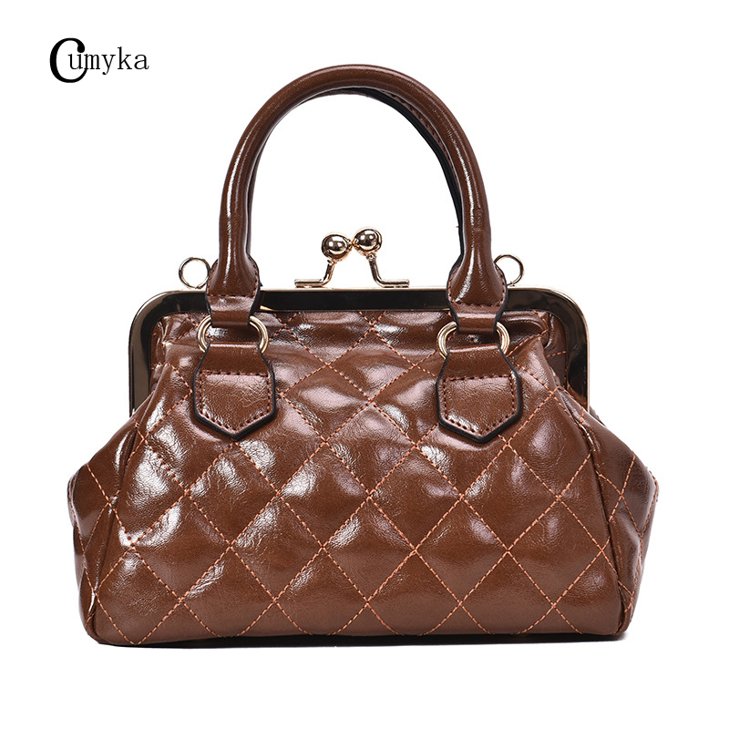 CUMYKA New Small Shell Shoulder Bags For Women Fashion Ladies Handbag Soft PU Leather Bag Casual Diamond Lattice Crossbody