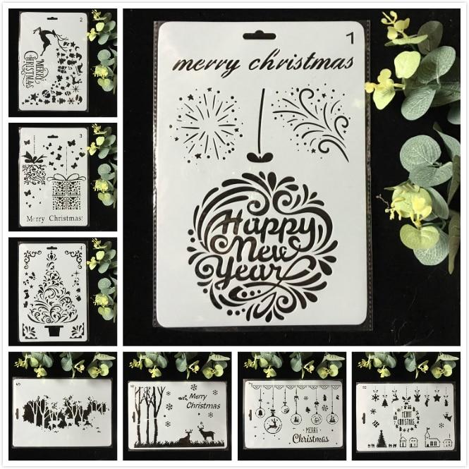 8Pcs/Pack 26cm Christmas Deer DIY Layering Stencils Wall Painting Scrapbook Coloring Embossing Album Decorative Template