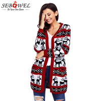 SEBOWEL Winter Red White Reindeer Christmas Cardigan Coat Women Autumn Geometric Knitted Sweater Cardigan Lady Christmas Jumper