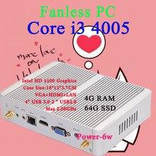 Мини-ПК Intel Core i3 4005Y 4 ГБ ОЗУ 64 ГБ hssd Max 2.08 ГГц VGA HDMI 4 К HTPC Малый TV Box Windows 10 Безвентиляторный Barebone USB 3.0
