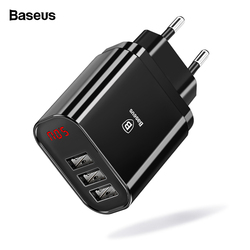 Baseus Multi USB Charger For iPhone Samsung Xiaomi mi 3.4A Fast Charging Travel Wall Charger EU US Plug LED Mobile Phone Charger