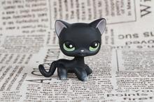 Nueva mascota colección LPS #336 negro gato de pie verde Ojos orejas Rosa niña juguetes con imán