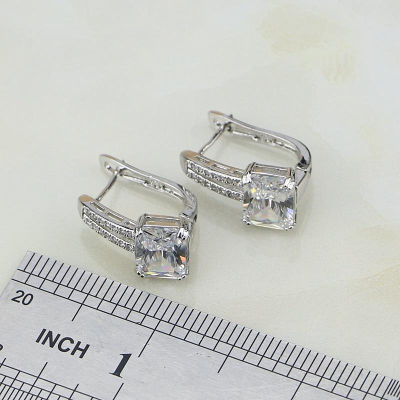 Square 925 Silver Jewelry White Cubic Zirconia Conjuntos de joyería - Bisutería - foto 4