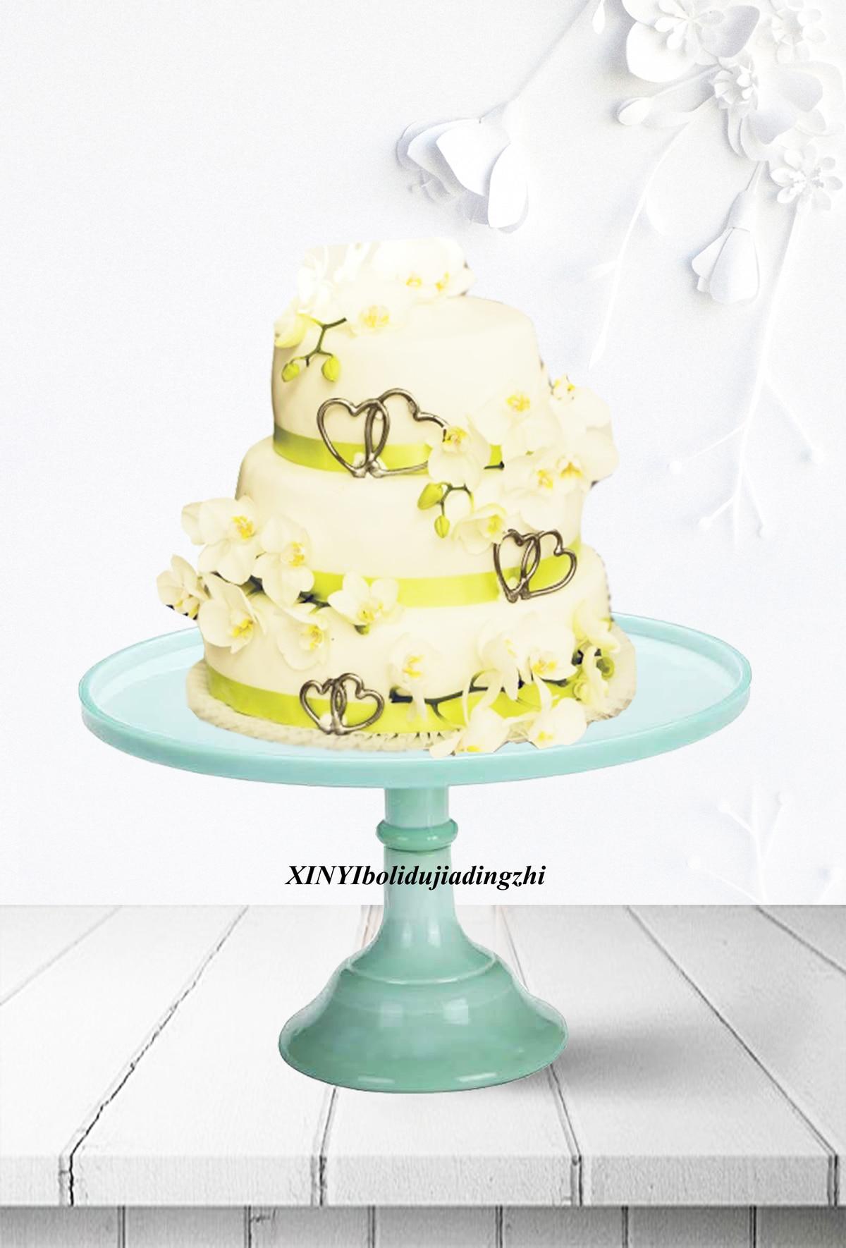 green milk glass cake plate stand fireking style wedding fondant ...