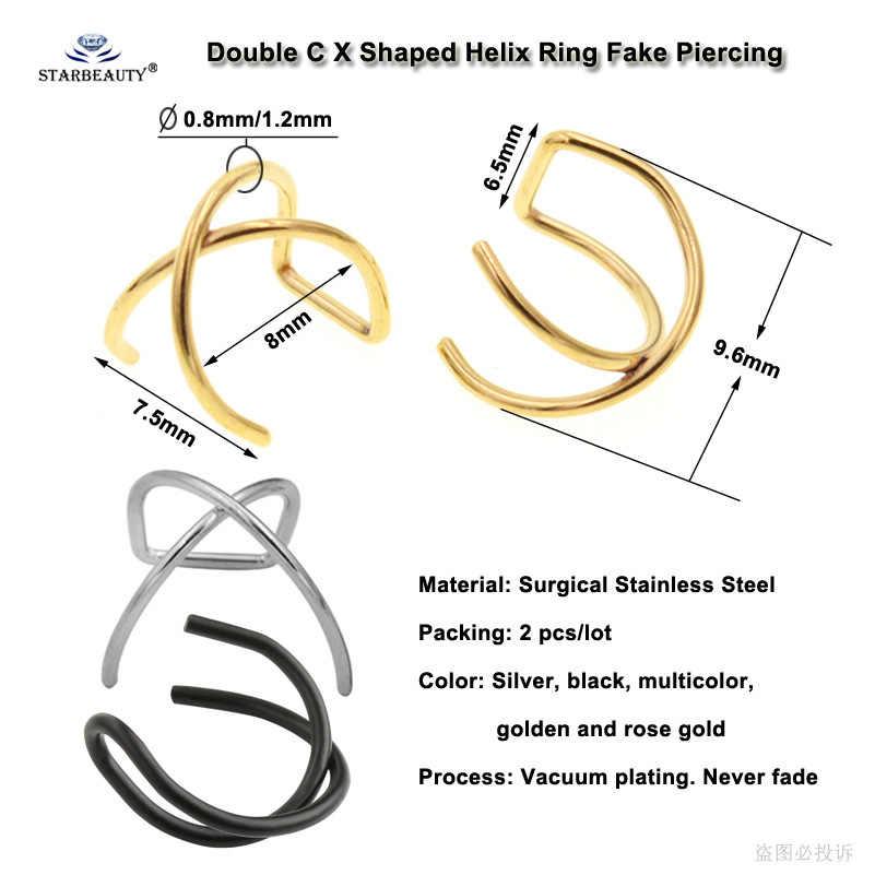 2 sztuk fajne X krzyż fałszywy piercing Helix kolczyk do piercingu Labret Lip Ring Pircing de Orelha fałszywe kolczyki mankiet ze stali nierdzewnej biżuteria