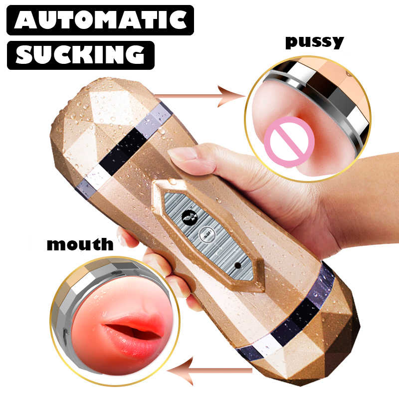 Male Masturbator Vibrator Real Vagina for Men Silicone Toy,Can Sound,Deep Throat Pussy Mouth Double Sex Toys for Adult Suck Man