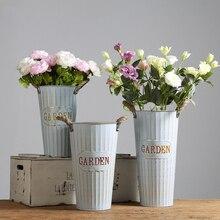 Простой пасторальный стиль сушеные цветы жестяное ведро кованого железа цветочный горшок сад цветочный магазин украшение ваза