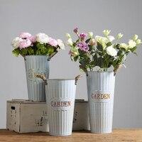 Simple Pastoral Style Dried Flowers Tin Bucket Wrought Iron Flower Pot Garden Flower Shop Decoration Vase