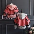 Winter infant girl winter coat+cloak detachable cotton infant overcoat butterfly girls parka fleece hooded children outerwear