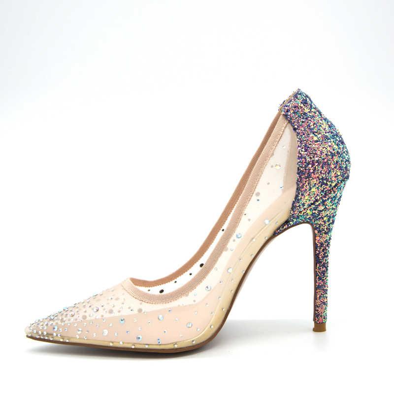 9e30d0c68 ... silver bling fashion design women s high heel pumps 2019 summer New see  through Party Wedding stiletto ...