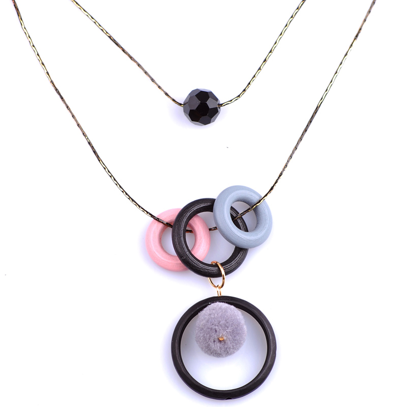 Acrylic Circle Necklace Pendant Double Sweater Chain Long Necklace For Females Unique De ...