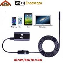 Wi-Fi эндоскоп Android IOS 8 мм объектив 1 м 3 м 5 м 7 м 10 м 6LED Водонепроницаемый Змея трубки Инспекции Borescope 720 P iphone камеры эндоскопа