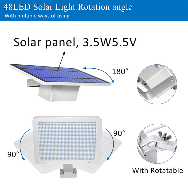 800lm Solar Outdoor Light for with 48 LED With Adjustable Lighting Angle for Garden and Yard Security 3