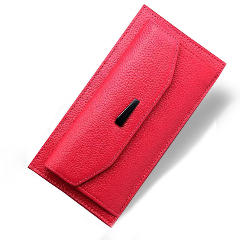 Litchi Pattern Famous Fashion Brand Designer Vintage Card Holder Genuine Leather Women Wallet Ladies Long Coin Purse Clutch Bag aim fashion women s long clutch wallet and purse brand designer vintage leather wallets women bags high quality card holder n801