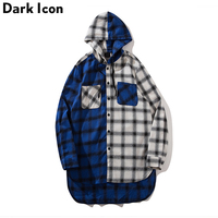 Flannel Plaid Patchwork Men S Shirt With Hoodie Front Short Back Long Extended Shirt Men 2018