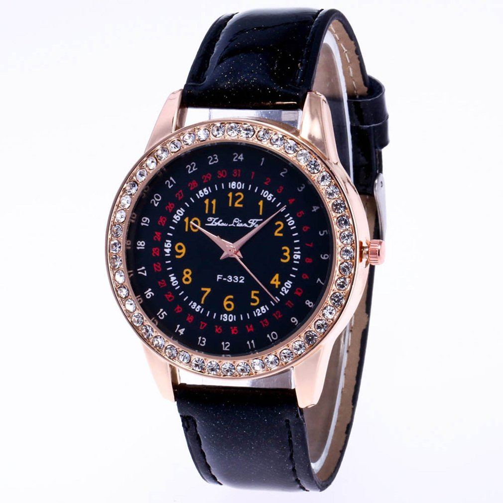 Crystal Pattern Leather Watchband Lover Watch Strap Easy Fit Elegant Wise Classic Design Waterproof Exquisite