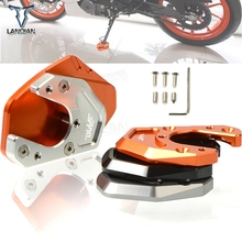 For KTM 125 DUKE 200 390 690 Duke LOGO Motorcycle Accessories CNC Kickstand Foot Side Stand Support Plate Pad Enlarge Extension motorcycle cnc kickstand foot side stand extension pad support plate enlarge stand for ktm 950 supermoto 2006 2007 with logo