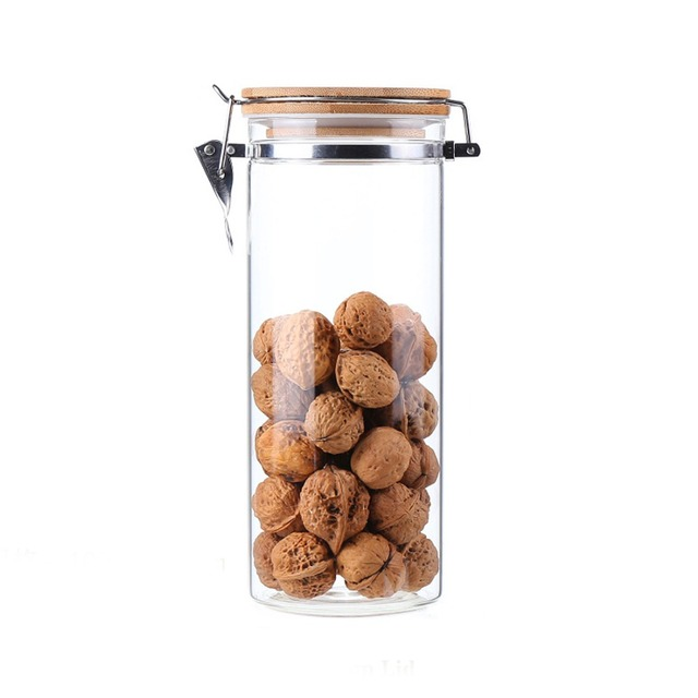 1600ML Food Storage Container Airtight Easy Lock With KKC Metal Buckles And  Bamboo Lid Free Shipping