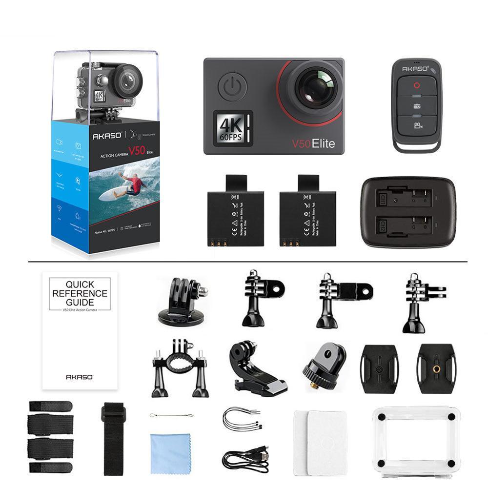 AKASO V50 Elite 4 K/60fps Tela Sensível Ao Toque WiFi Action Camera Voice Control EIS 40m À Prova D' Água Câmera Esporte câmera com Capacete