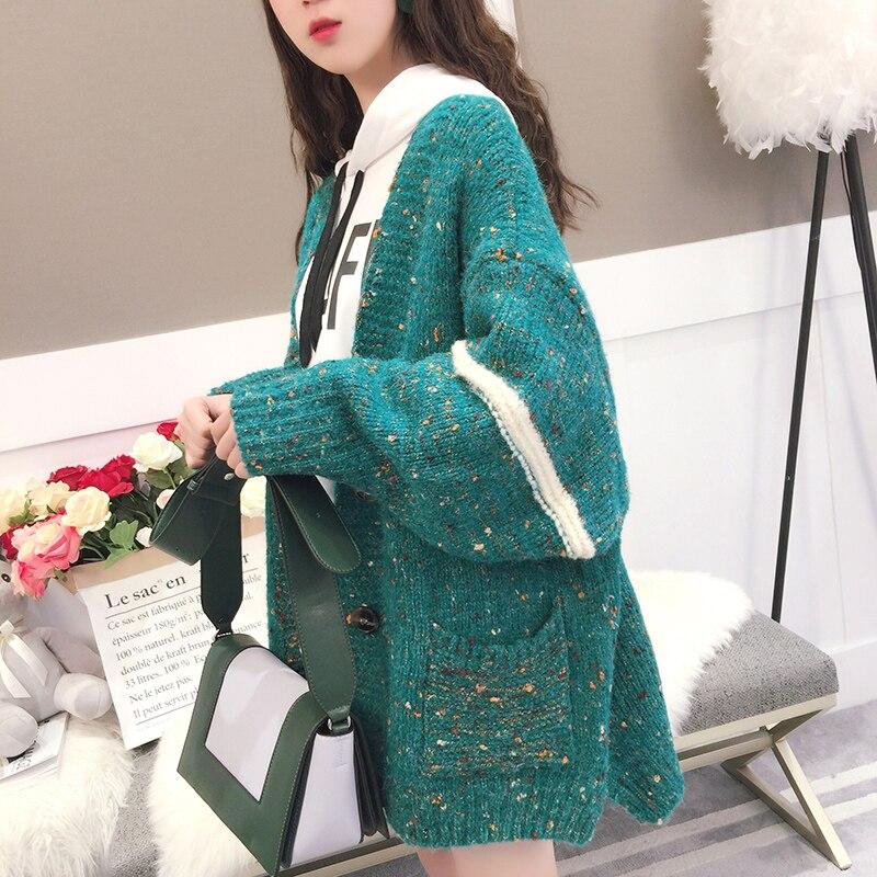 2018 Новые весенние и зимние женские свободные свитера модный утепленный кардиган универсальные трикотажные повседневные Пиджаки Куртки Топы 0,95 кг