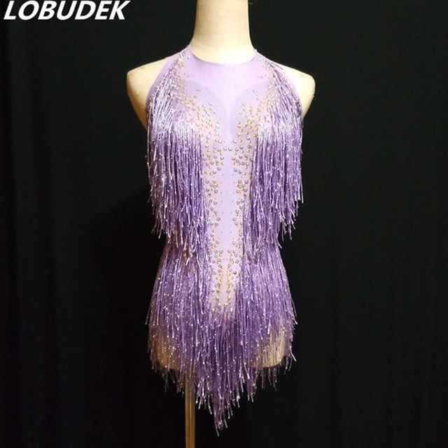 Purple Red Tassels Bodysuit Sparkly Crystals Backless Bodysuits Bar Women Singer DJ Costume Models Catwalk Latin Stage Outfit