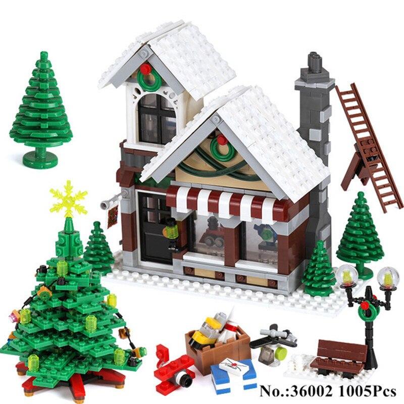 1005pcs Lepin Diy Blocks Creative Winter Series Christmas Winter Shop Assembled Pinch Juvenile Brick Model Toy for Children realleader м2 1005