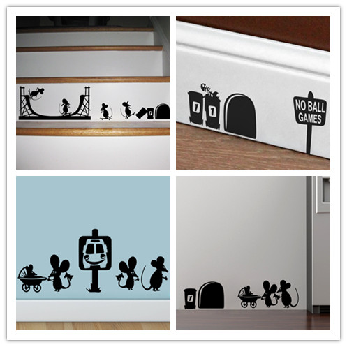 Funny mouse hole family wall stickers creative rat hole Funny bedroom