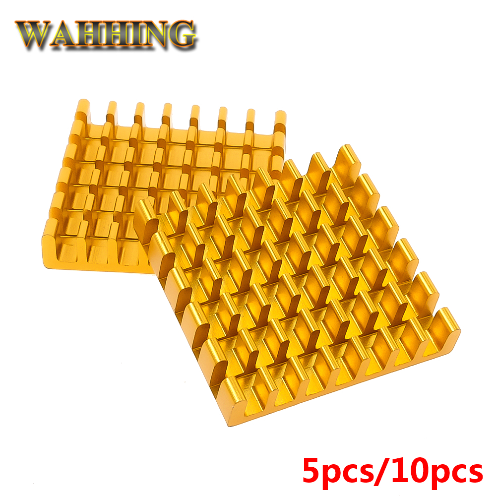 5/10x Computer Cooling 25*25*5mm Radiator Aluminum Heatsink Heat sink for Electronic Heat dissipation Cooling Pads Golden HY1597 5pcs lot pure copper broken groove memory mos radiator fin raspberry pi chip notebook radiator 14 14 4 0mm copper heatsink