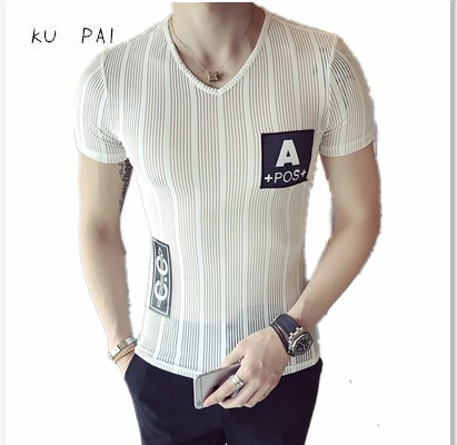 2018 New Summer Korean Slim Slim V-Neck T-Shirt Male Translucent Net Yarn Short Sleeve C ...
