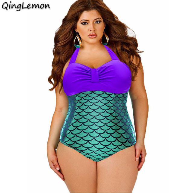 2016 New Plus Size One Piece Sexy Women Bathing Suit Mermaid Print