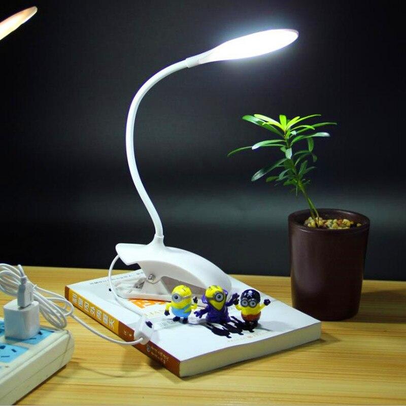 Marmenkina 3w LED Desk Lamp Table Reading Lamp Flexional Stand Clip Desk  Lamp Fashion Novelty Gift for Student White