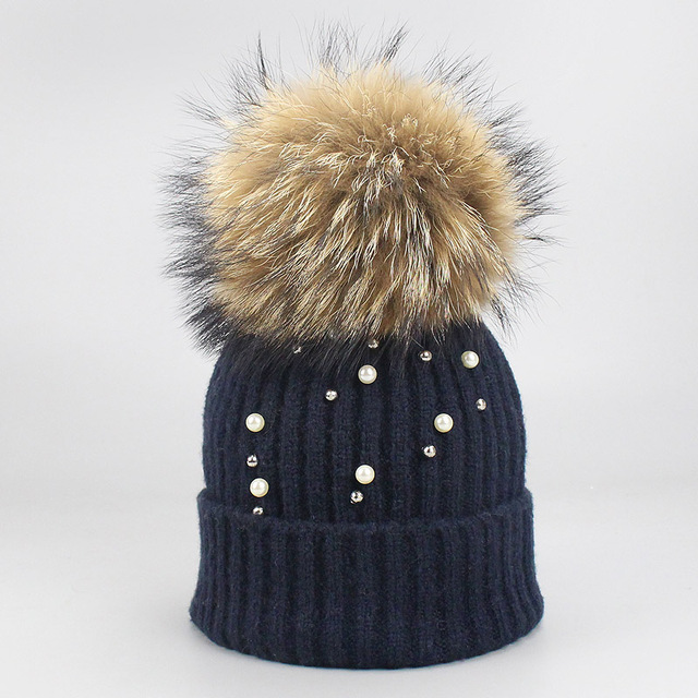 New Wool Beanies Women Real Natural Fur Pom Poms Fashion Pearl Knitted Hat Girls Female Beanie Cap Pompom Winter Hats for Women