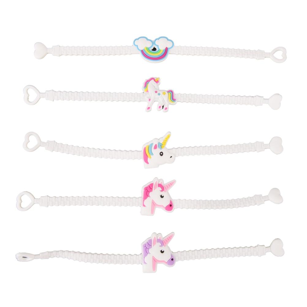 10pcs/lot Party Birthday Unicorn Bracelets Girls Boys Birthday Party Favors Bag Fillers Kids Baby Wristband Child Gift